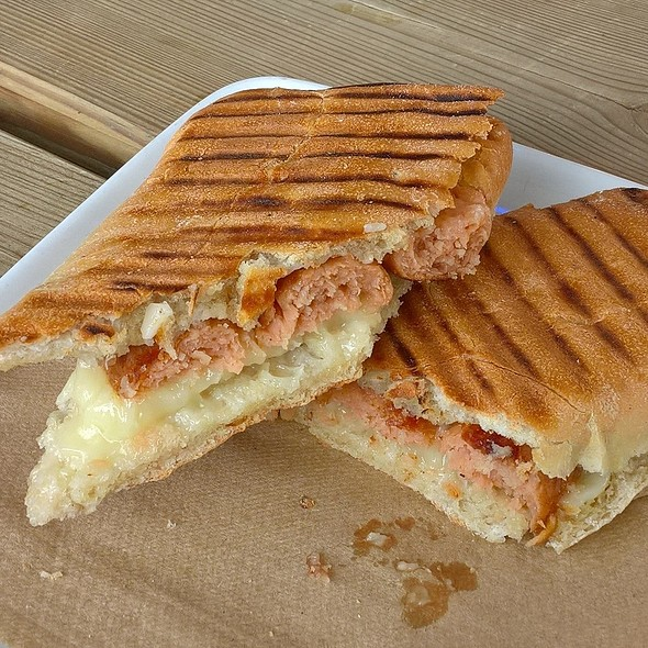 Vegan Cheese and Sausage Panini @ Café Dharma
