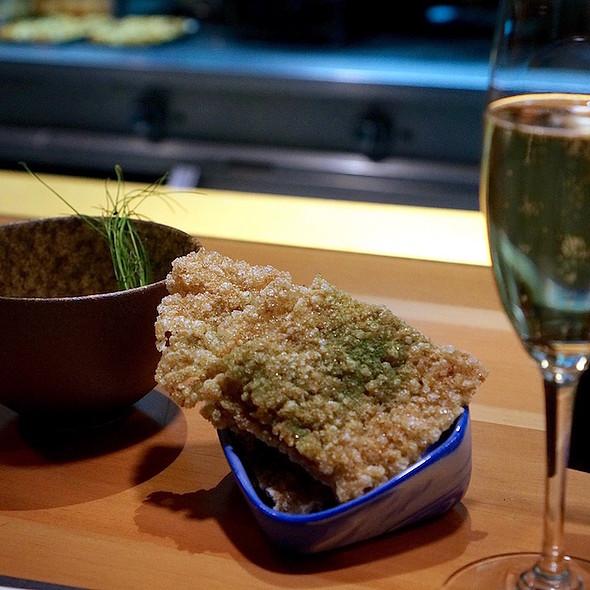 Bar snack – bone marrow crème, beef tendon crisp