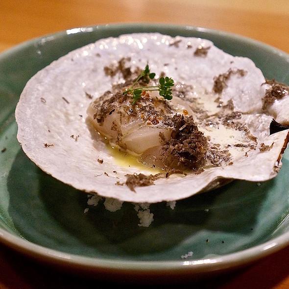Scallop crudo, yuzu sabayon, black truffles