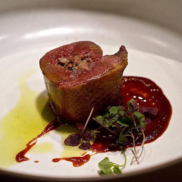 Squab, foie, shiso, chile sauce