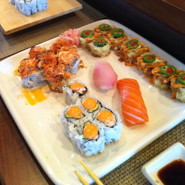 Salsa, Valcano, And Spicy California Rolls W/ Yellowtail And Salmon Sushi @ Koji Japanese Restaurant