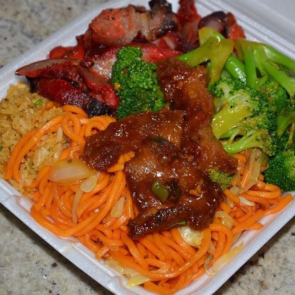 Char Siu, Broccoli Beef, Chow Mein and Fried Rice