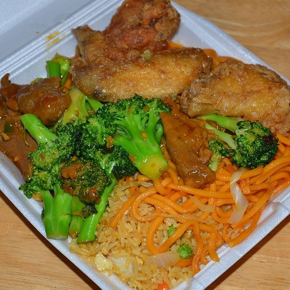 Broccoli Beef, Fried Chicken, Chow Mein and Fried Rice