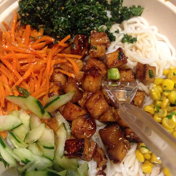 Tofu, Corn & Kale On A Bed Of Rice Noodles @ BIBIBOP Asian Grill