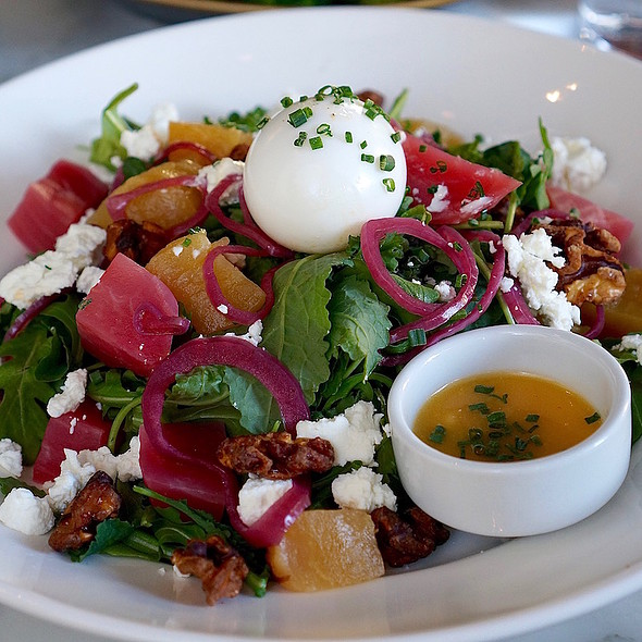 Breakfast salad – kale, walnuts, beets, soft-boiled egg, goat cheese, butternut squash vinaigrette
