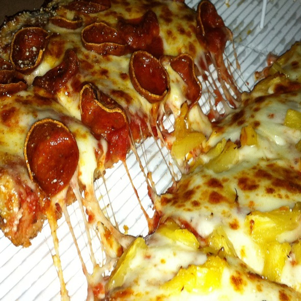 Large With Pineapple On One Side Spicy Pepperoni On The Other @ Jet's Pizza