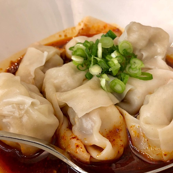 Shrimp And Pork Wontons With Spicy Sauce @ Din Tai Fung