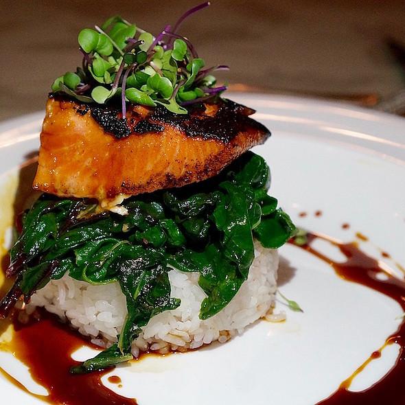 Miso-marinated wild Alaskan salmon, sticky rice sautéed rainbow chard, nikiri glaze