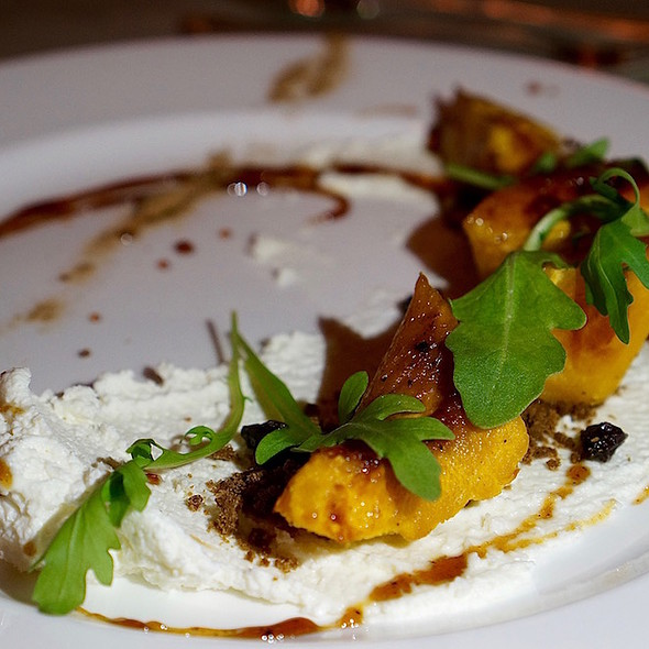 Roasted acorn squash, local goat cheese, currants, truffle syrup, porcini dust