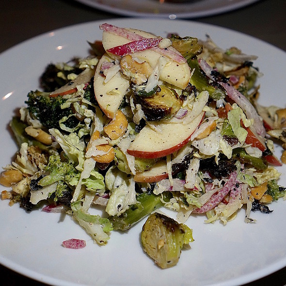 Warm brassicas salad, wood-fired Brussels sprouts, cauliflower, broccoli, dried apricot, apple, cashew dressing @ Santo
