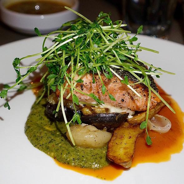 Ora king salmon, crispy potatoes, cippolini, pea shoots, mojo verde @ Santo