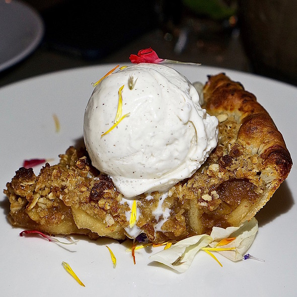 Apple and green chile pie, sharp cheddar crust, vanilla ice cream
