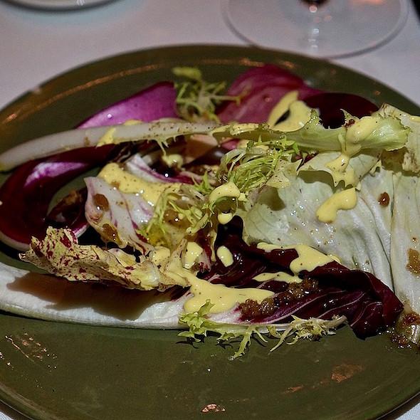 Chicory salad, egg yolk, sirk vinegar, prosciutto @ Frasca Food & Wine