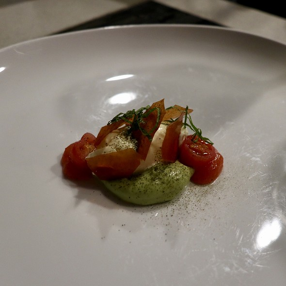 Parmesan Ice Cream with Tomato Glass, Peruvian Avocado, Shiso, and Seaweed Salt