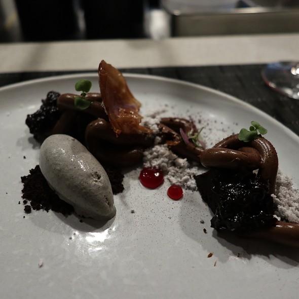 Chocolate Curd with Rooibos Tea, Cherry Marmalade, Black Sesame Gelato,  and Shiso