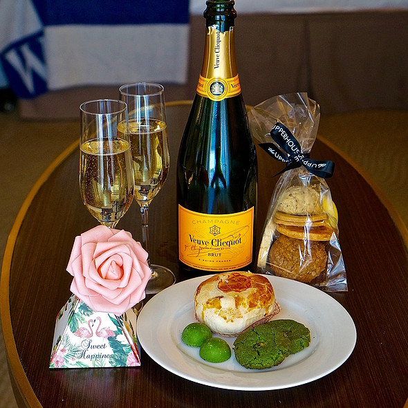 Matcha cookies, Veuve Clicquot champagne, Cantonese nut pastry, matcha chocolates, assorted cookies