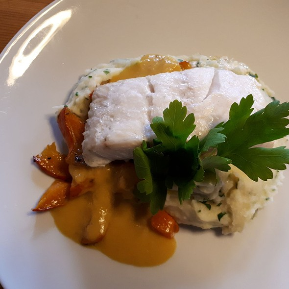 poached Halibut with Chive mashed Potatoes and creamy Pumpkin