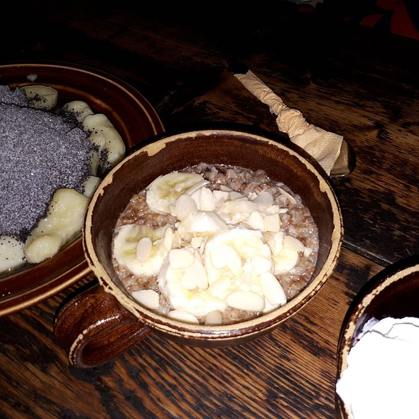 Buckwheat Gruel with Honey, Raisins, Almonds and Cinnamon and Potato Dumplings with Poppy Seeds