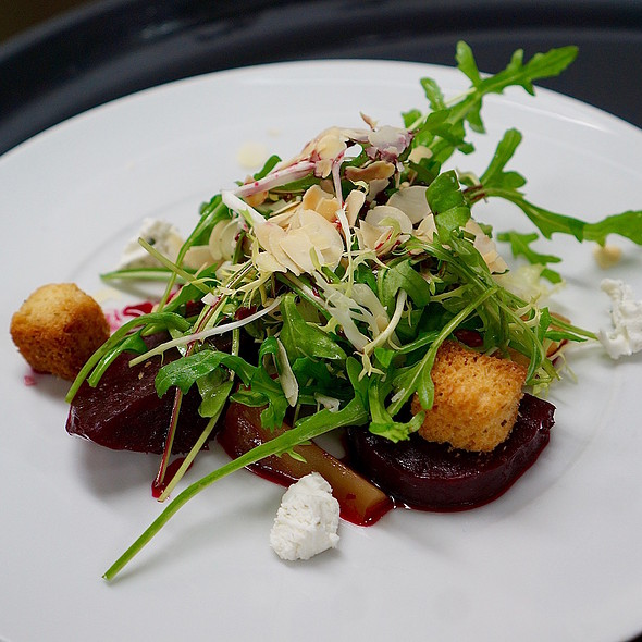 Maple syrup, cider-glazed beets, goat cheese, wild arugula, rye croutons, toasted almonds