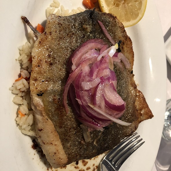 Sauteed Trout with Pickled Onions over Rice with Spinach and Carrots