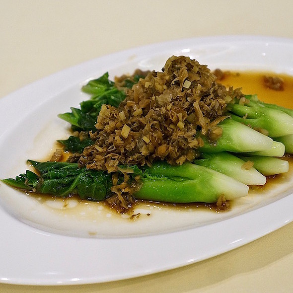 Steamed gai lan with preserved vegetable