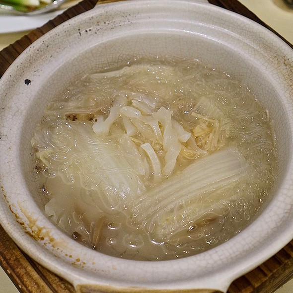 Braised fish maw, dried seafood with cabbage in clay pot