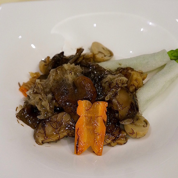 Braised bamboo fungus and vegetable rolls