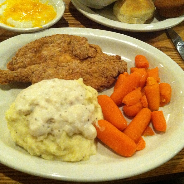 chicken fried steak with mash potatoes and fried okra
