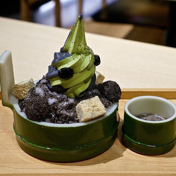 Goma sesame kakigori – black sesame shaved ice, warabi mochi, matcha charcoal soft serve ice cream