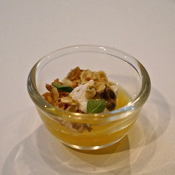 Passion fruit jelly, coconut whipped cream, granola