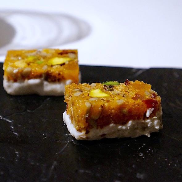 Fish granola, sea bass, dried fruit, pistachio, cream cheese