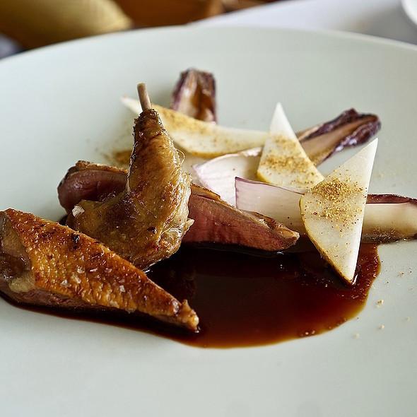 Roasted pigeon, endive, pear, cocoa