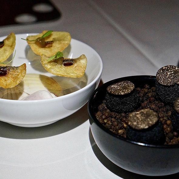 Sardine fish and chips, kabocha squash croquette with black Périgordtruffle