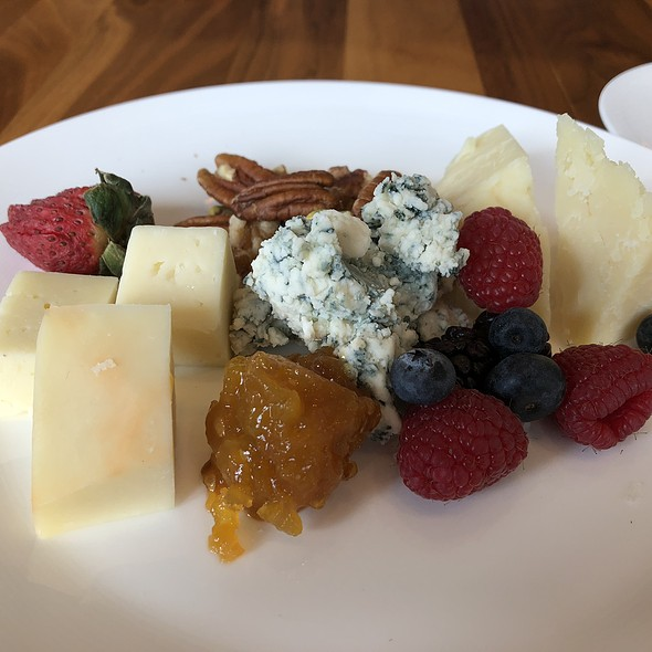 Cheddar, Blue, and Manchego Cheese with Pecans, Raspberries, and Blueberries