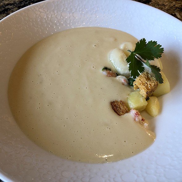 Squash, Turnip, and Chestnut Soup with Rock Shrimp, Espresso Bean Crouton, and Sambuca