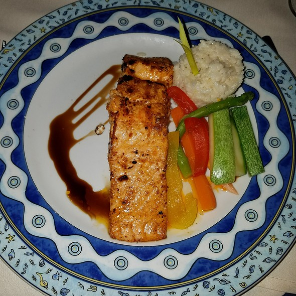 Yellow miso-sake marinated spring salmon, cucumber - daikon relish, steamed rice & stir fried vegetables