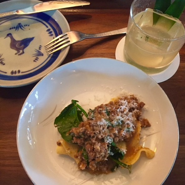 Butchers blend Bolognese , fresh pepperdelle , recovery park spinach