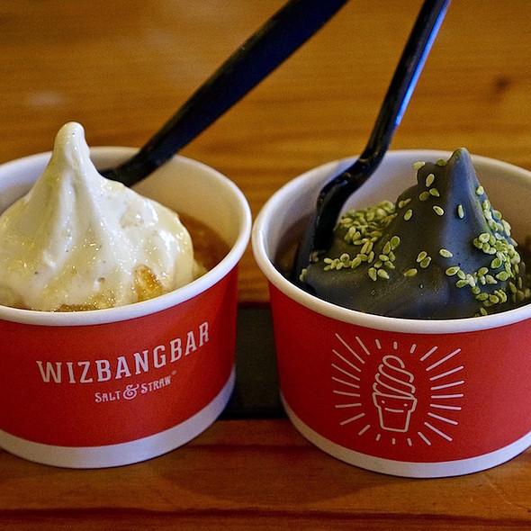 Grapefruit and olive oil mini sundae with vanilla custard; Chocolate SIlencio Black Tea with Cocanu Grey Bar magic shell @ Wiz Bang Bar