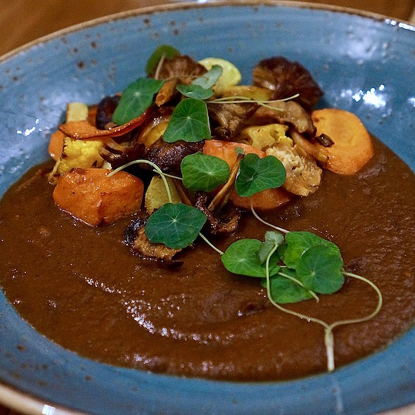 Mole amarillo, cauliflower, carrots, hedgehog mushrooms, squash, corn tortillas