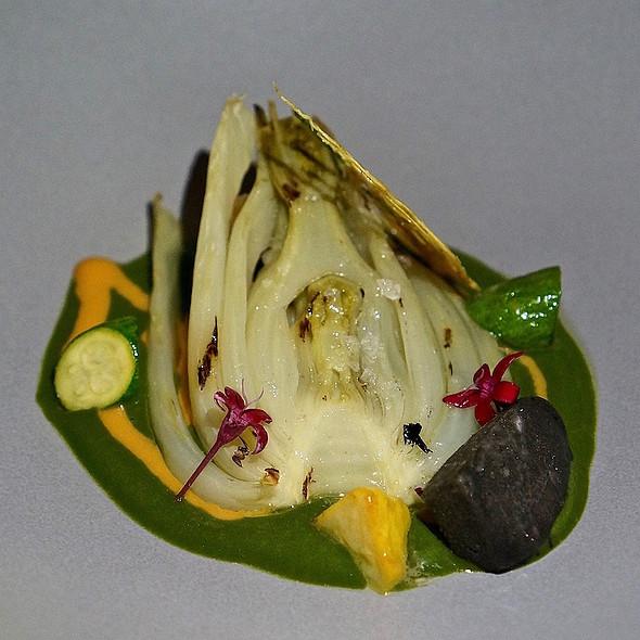 Grilled fennel, green spinach velouté, brown butter, black olives taggiasca sorbet