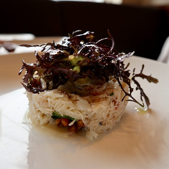 Jumbo Lunp Crab with Puntarelle, Walnut Agrodolce, and Apple