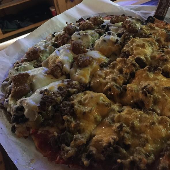 Half Choo Choo Pizza Half Cheeseburger