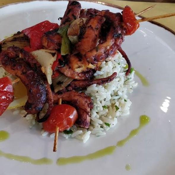 Octopus and vegetable skewers