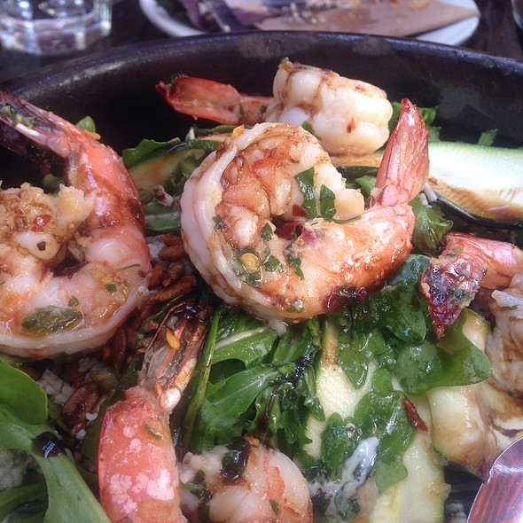 Zucchini Ribbons With Bleu Cheese Dressing & Grilled Shrimp @ The Running Goose- Restaurant and Organic Herb Garden