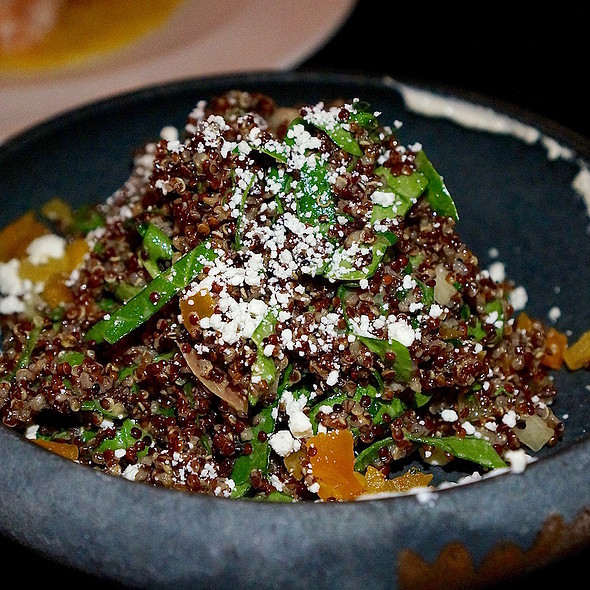 Red quinoa salad, honeycrisp apples, dried apricots, goat cheese, toasted hazelnuts, honey vinaigrette