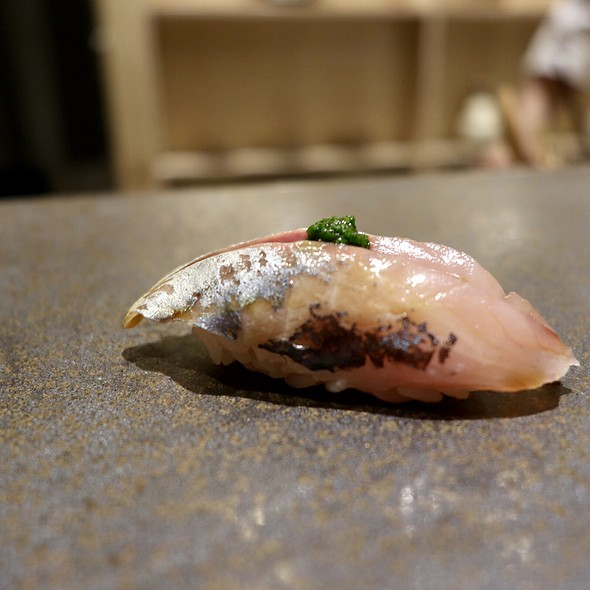 Horse Mackerel Nigiri with Spring Onion