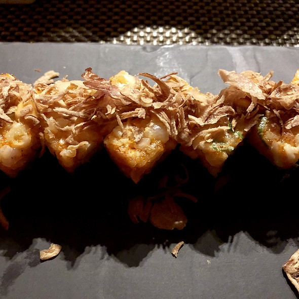 Lobster, Squid Ink Rice, Masago Aioli, and Scallion Hakozushi @ O-Ku