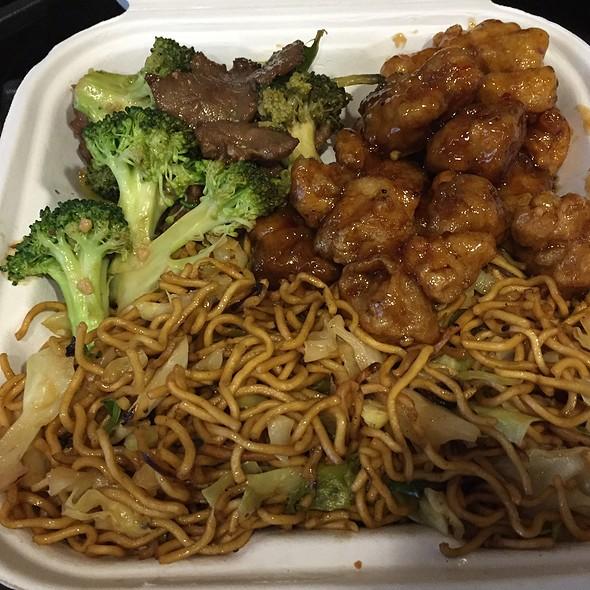 Chow Mein, Beef Broccoli and Orange Chicken