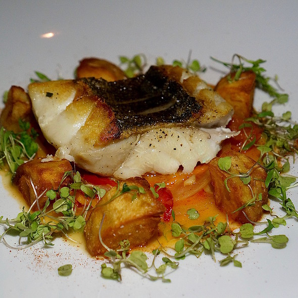 Roasted cabrilla (grouper), crunchy potatoes, spicy stewed peppers