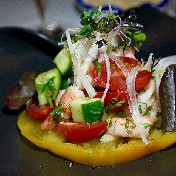 Jumbo shrimp salad, lemon, coriander, first press olive oil @ Agua By Larbi